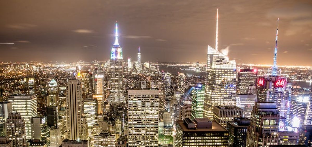 City by night, areal view