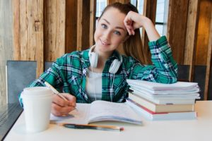 A female student studying.