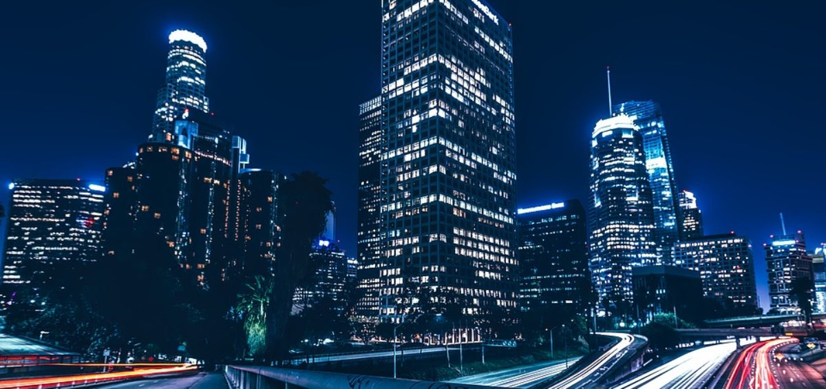 Buildings in LA seen during night