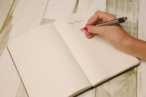 Hand writing My plan in a notebook