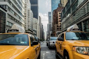 taxi cabs in the street
