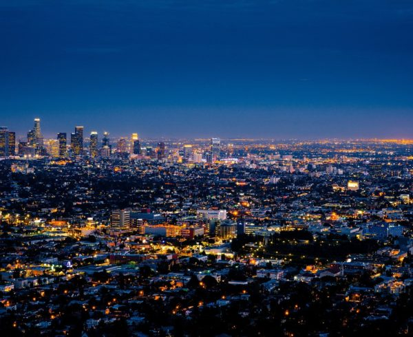 An LA skyline at night.