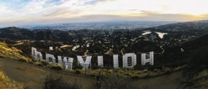 A Hollywood sign.