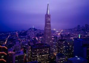A view of Transaperica pyramid in San Francisco by night.