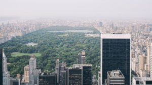 view of the Upper East Side and Central Park in New York City.