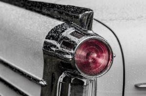 A tail light of a car.