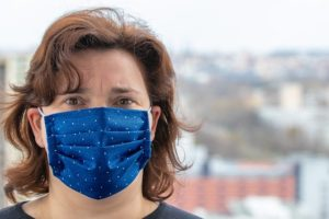 A person wearing a face mask.