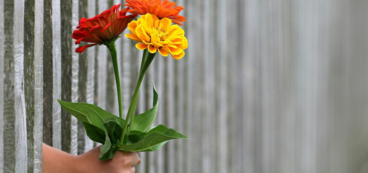 A hand holding flowers as one of the housewarming gift ideas for your new neighbors.