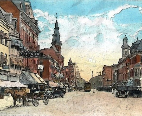 A painting representing an Ohio street..