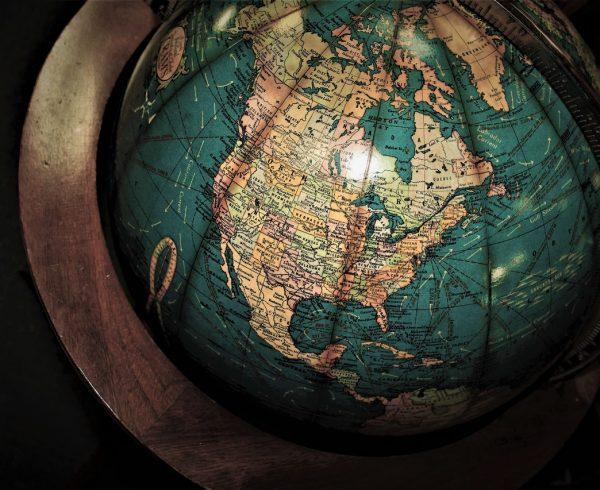 a globe showing North America