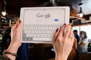 A woman doing Google reserach.