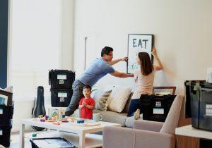 A family preparing for a short distance move in LA